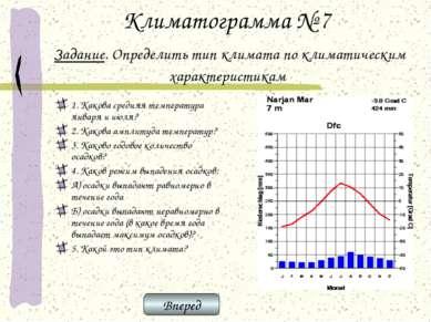 Климатограмма № 7 Задание. Определить тип климата по климатическим характерис...