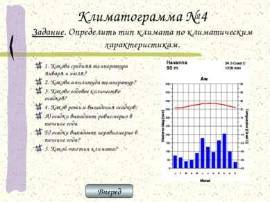 Климатограмма № 4 Задание. Определить тип климата по климатическим характерис...