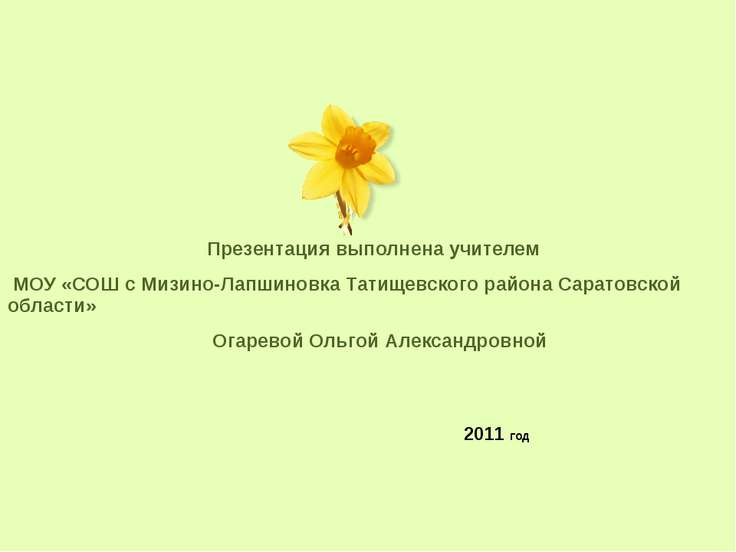 2011 год Презентация выполнена учителем МОУ «СОШ с Мизино-Лапшиновка Татищевс...