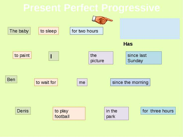 Present Perfect Progressive The baby to sleep for two hours to paint I the pi...