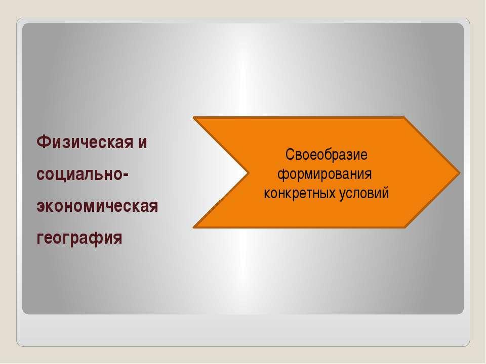 Физическая и социально- экономическая география Своеобразие формирования конк...