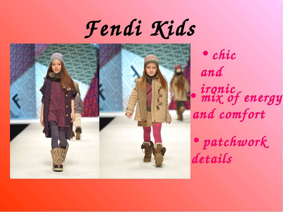 Fendi Kids chic and ironic mix of energy and comfort patchwork details