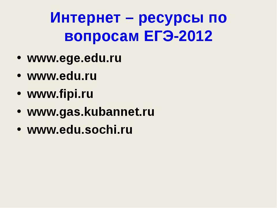 Интернет – ресурсы по вопросам ЕГЭ-2012 www.ege.edu.ru www.edu.ru www.fipi.ru...