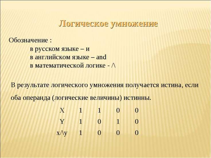 Логическое умножение Обозначение : в русском языке – и в английском языке – a...