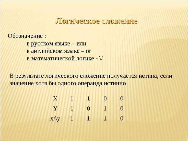 Логическое сложение Обозначение : в русском языке – или в английском языке – ...