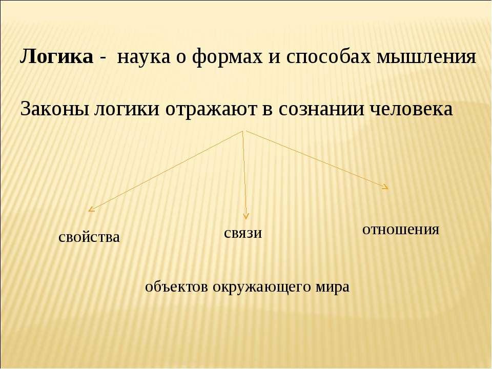 Логика - наука о формах и способах мышления Законы логики отражают в сознании...