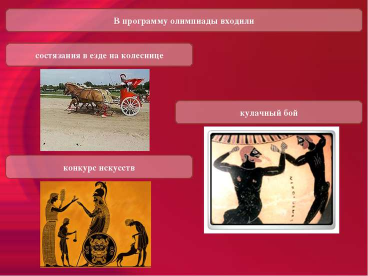 В программу олимпиады входили состязания в езде на колеснице кулачный бой кон...