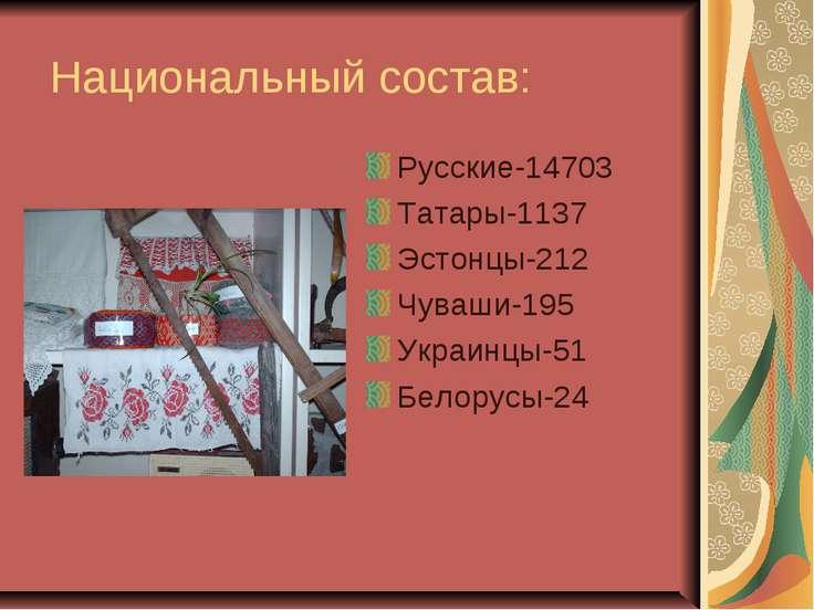 Национальный состав: Русские-14703 Татары-1137 Эстонцы-212 Чуваши-195 Украинц...