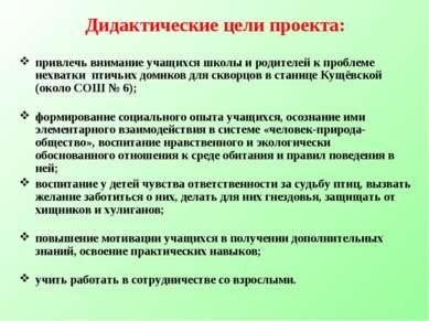 Дидактические цели проекта: привлечь внимание учащихся школы и родителей к пр...