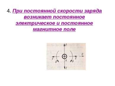 4. При постоянной скорости заряда возникает постоянное электрическое и постоя...