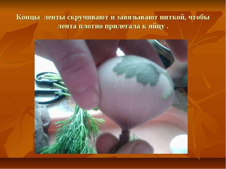 Концы ленты скручивают и завязывают ниткой, чтобы лента плотно прилегала к яй...