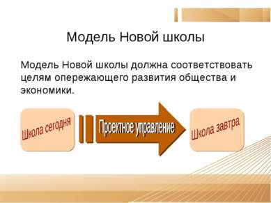 Модель Новой школы Модель Новой школы должна соответствовать целям опережающе...