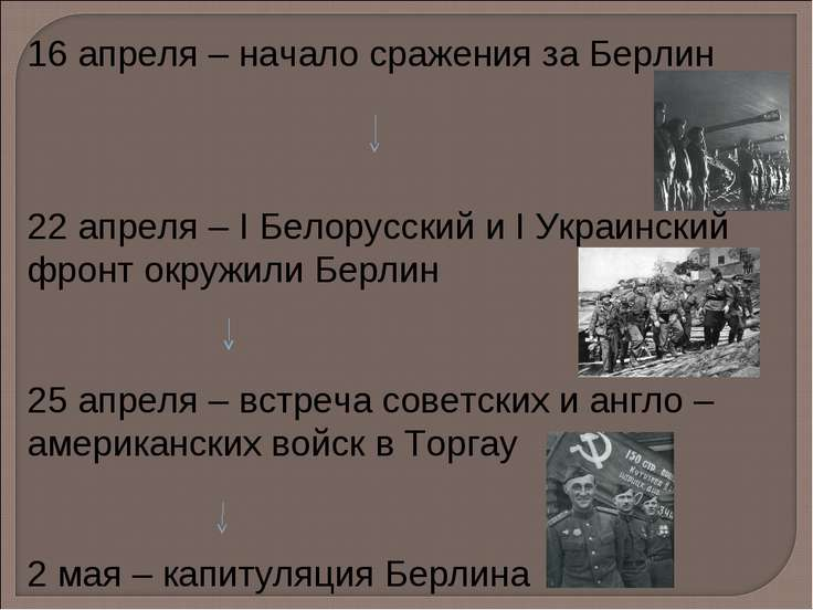 16 апреля – начало сражения за Берлин 22 апреля – I Белорусский и I Украински...
