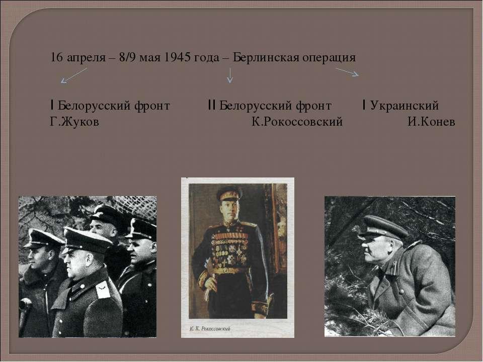 16 апреля – 8/9 мая 1945 года – Берлинская операция I Белорусский фронт II Бе...