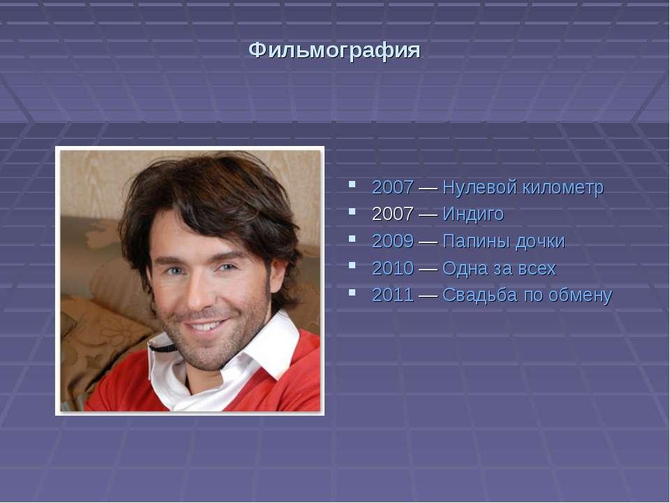 Фильмография 2007— Нулевой километр 2007— Индиго 2009— Папины дочки 2010—...