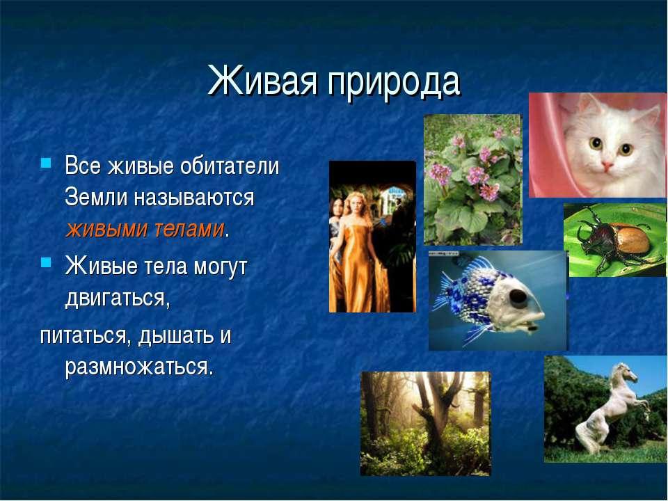 Живая природа Все живые обитатели Земли называются живыми телами. Живые тела ...
