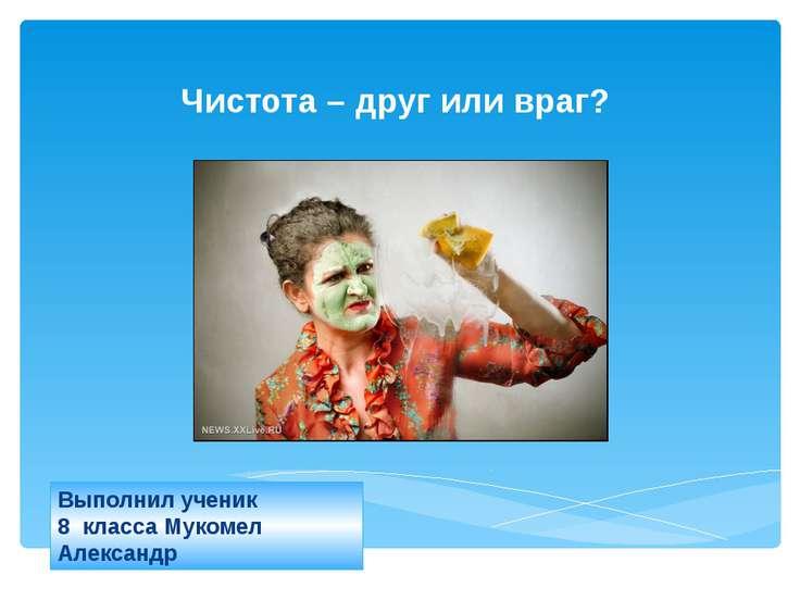 Выполнил ученик 8 класса Мукомел Александр Чистота – друг или враг? 2012 г.
