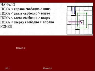 2011 г. © Bolgova N.A. Ответ: 3 © Bolgova N.A.