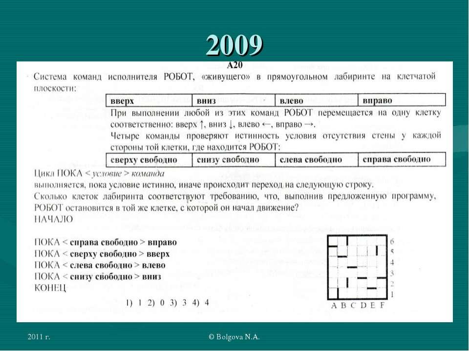 2011 г. © Bolgova N.A. 2009 © Bolgova N.A.