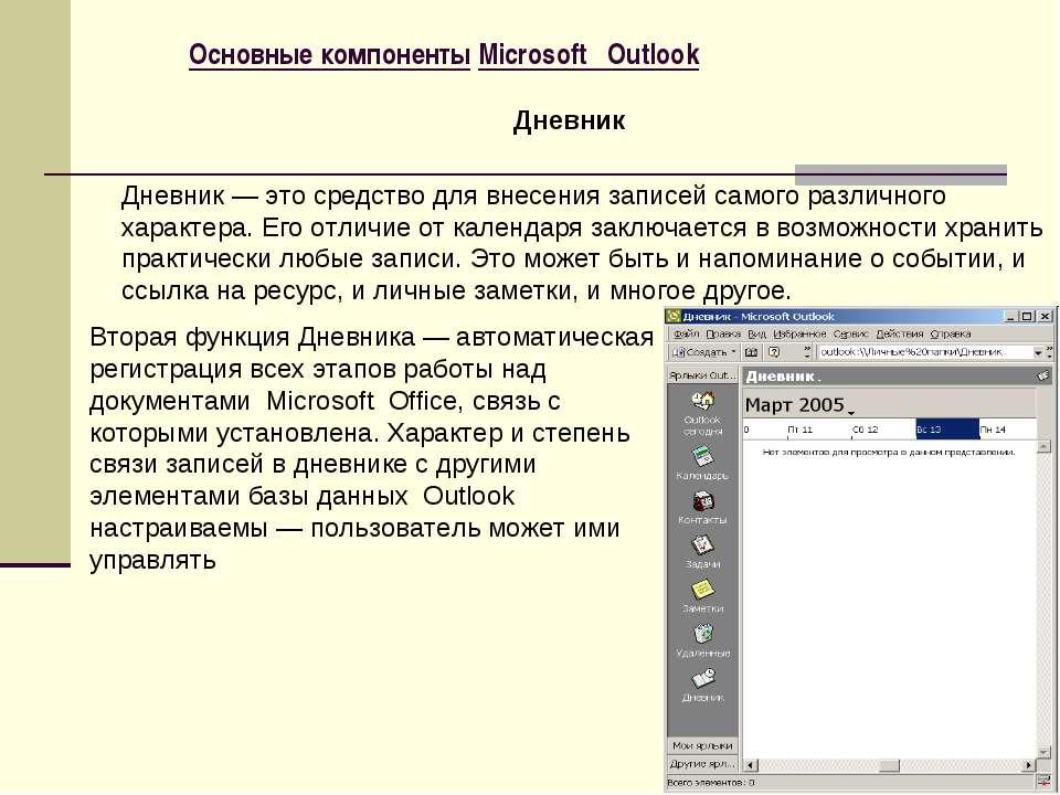 Основные компоненты Microsoft Outlook Дневник — это средство для внесения зап...
