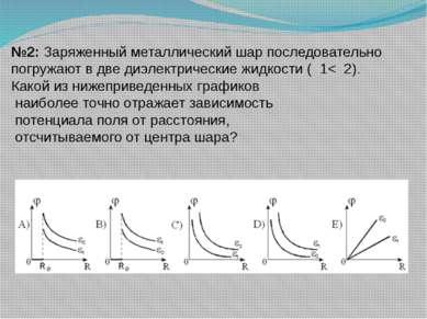 №2: Заряженный металлический шар последовательно погружают в две диэлектричес...