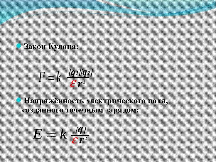 Закон Кулона: Напряжённость электрического поля, созданного точечным зарядом:...