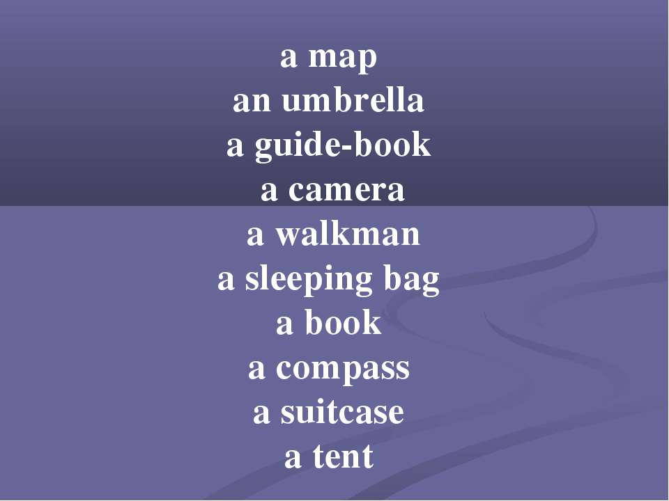 a map an umbrella a guide-book a camera a walkman a sleeping bag a book a com...