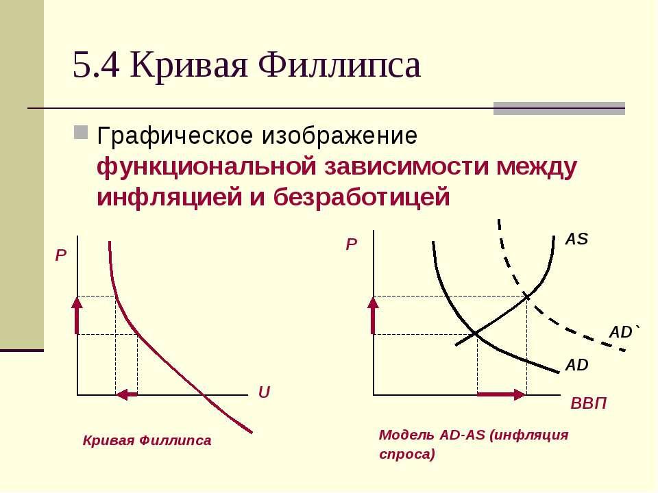 5.4 Кривая Филлипса Графическое изображение функциональной зависимости между ...