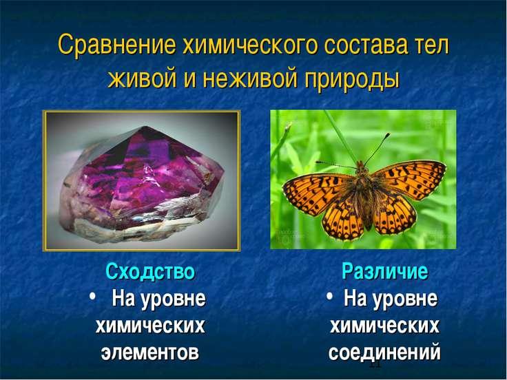 Сравнение химического состава тел живой и неживой природы Различие На уровне ...