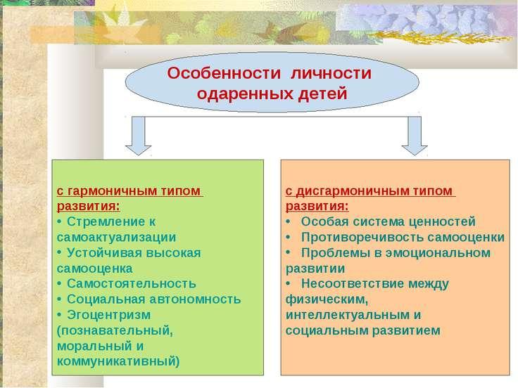 Особенности личности одаренных детей с гармоничным типом развития: Стремление...