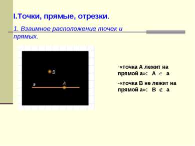 I.Точки, прямые, отрезки. 1. Взаимное расположение точек и прямых. «точка А л...
