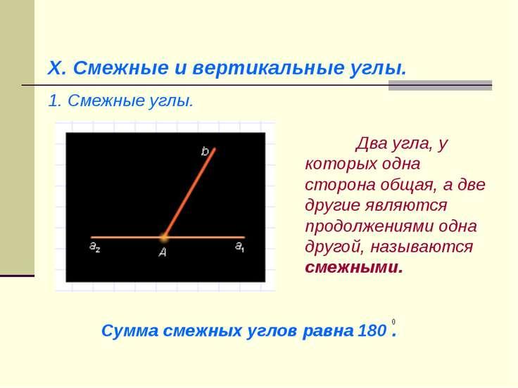 X. Смежные и вертикальные углы. 1. Смежные углы. Два угла, у которых одна сто...