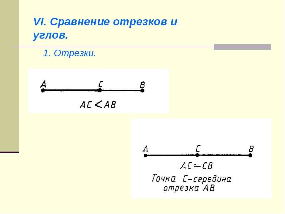 VI. Сравнение отрезков и углов. 1. Отрезки.