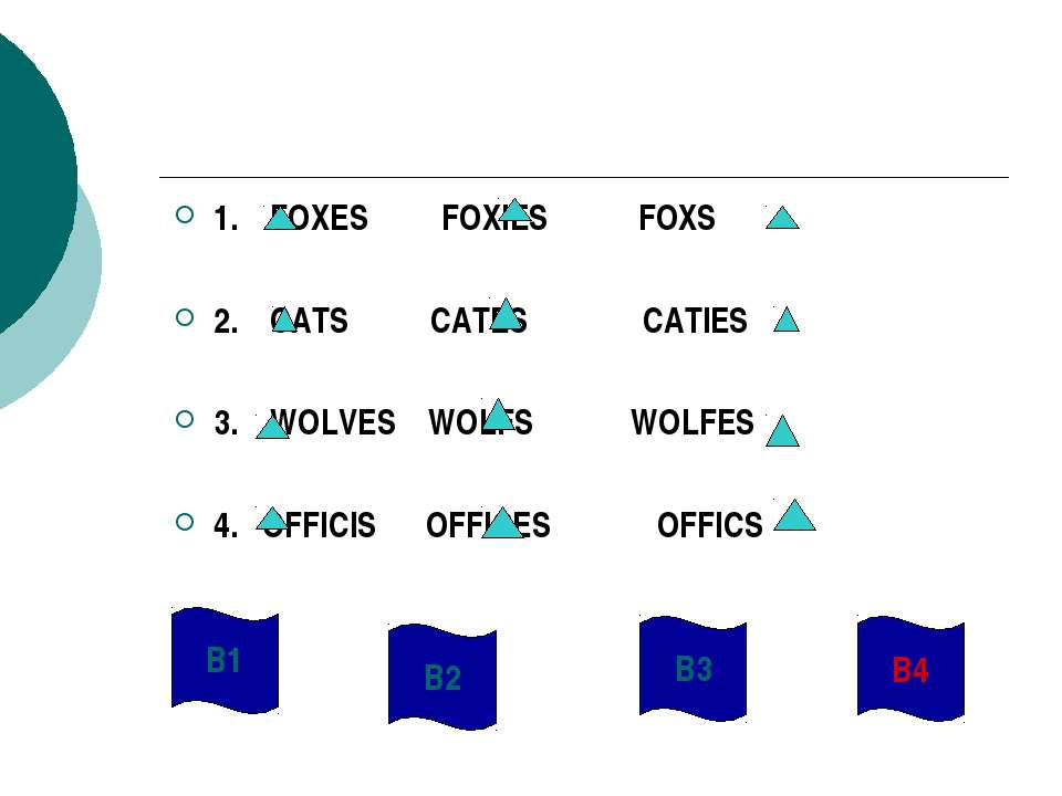 1. FOXES FOXIES FOXS 2. CATS CATES CATIES 3. WOLVES WOLFS WOLFES 4. OFFICIS O...