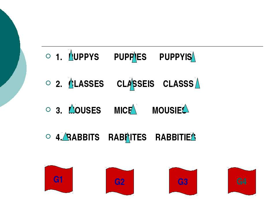 1. PUPPYS PUPPIES PUPPYIS 2. CLASSES CLASSEIS CLASSS 3. MOUSES MICE MOUSIES 4...
