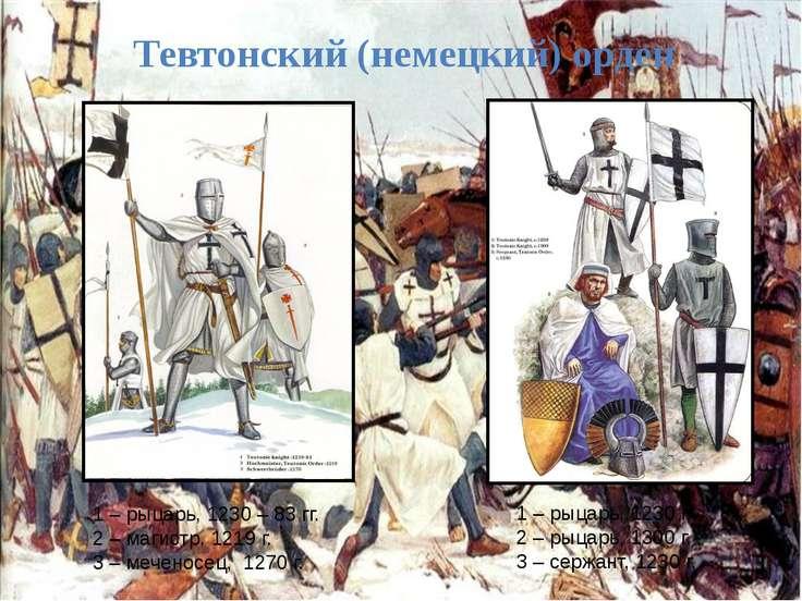Тевтонский (немецкий) орден 1 – рыцарь, 1230 г. 2 – рыцарь, 1300 г. 3 – сержа...