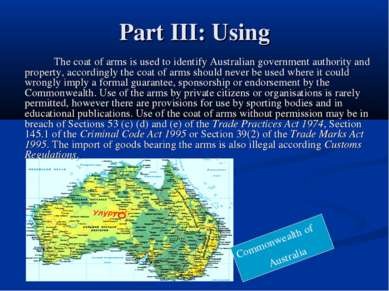 Part III: Using The coat of arms is used to identify Australian government au...