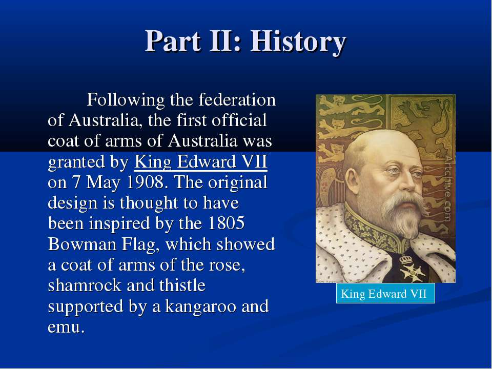 Part II: History Following the federation of Australia, the first official co...