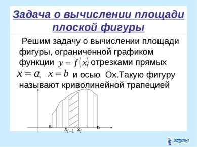 Задача о вычислении площади плоской фигуры Решим задачу о вычислении площади ...