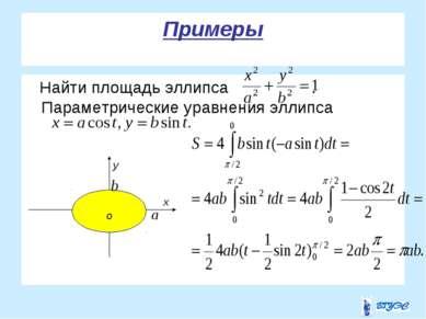 Примеры Найти площадь эллипса . Параметрические уравнения эллипса у о х