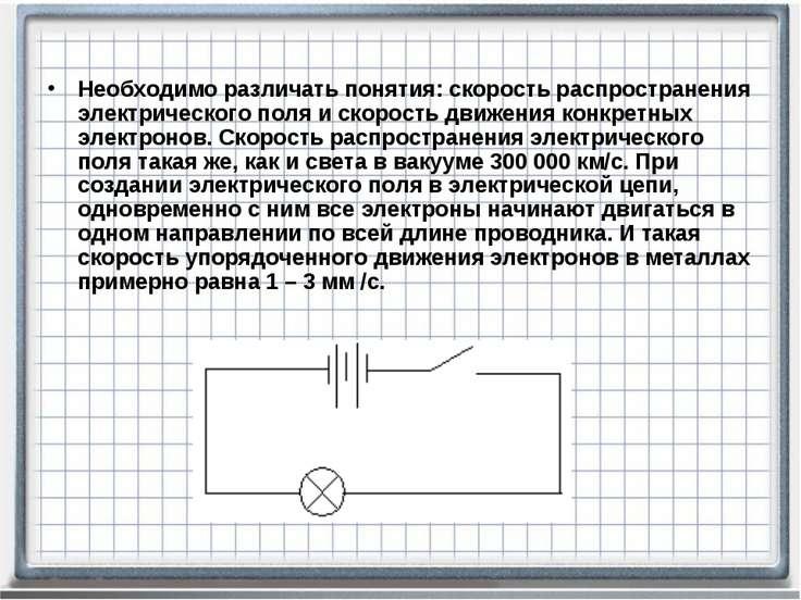 Необходимо различать понятия: скорость распространения электрического поля и ...
