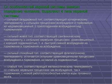 От особенностей нервной системы зависит поведение человека. Выделяют 4 типа н...