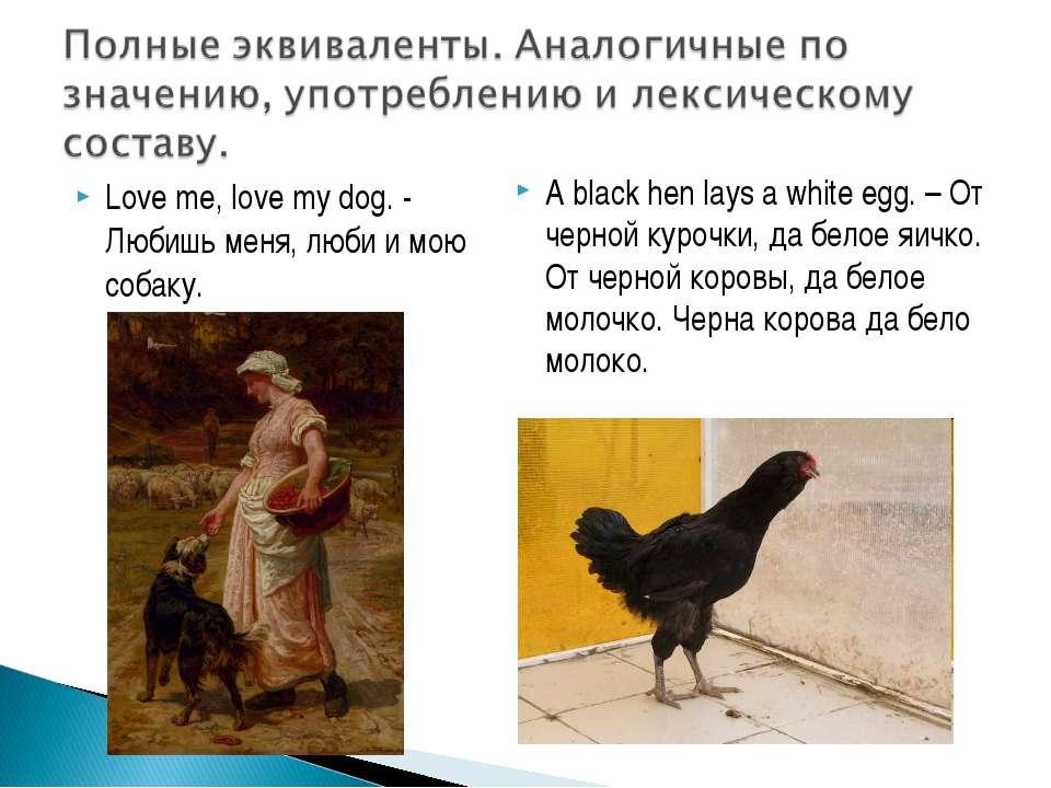 Love me, love my dog. - Любишь меня, люби и мою собаку. A black hen lays a wh...