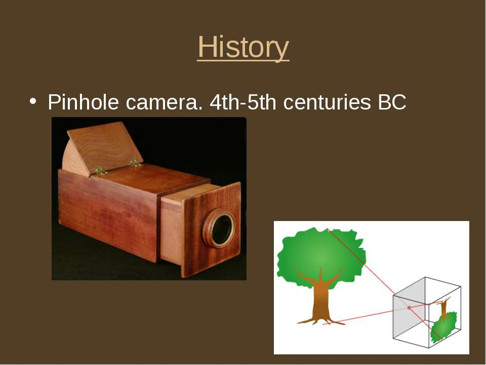 History Pinhole camera. 4th-5th centuries BC