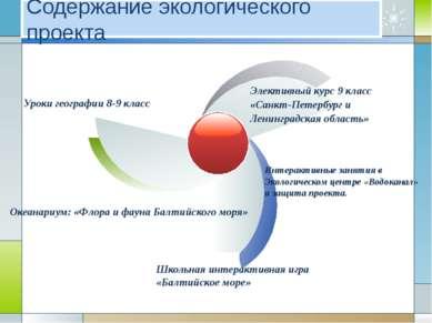 Содержание экологического проекта Интерактивные занятия в Экологическом центр...