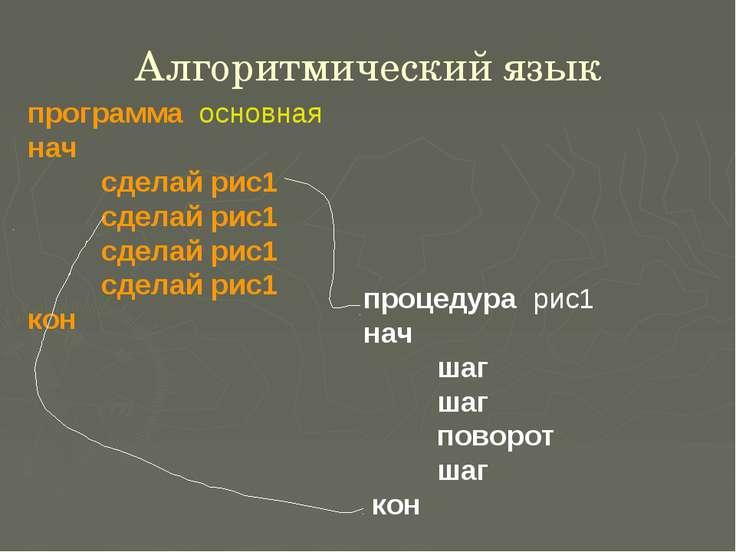 Алгоритмический язык программа основная нач сделай рис1 сделай рис1 сделай ри...