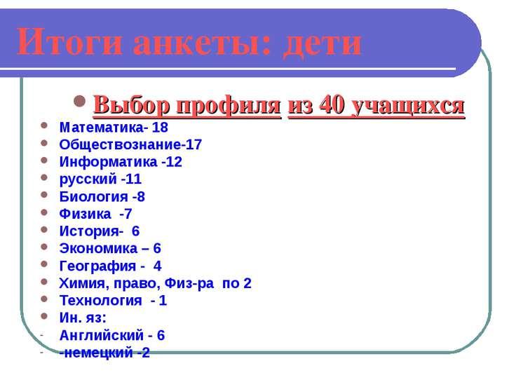 Итоги анкеты: дети Выбор профиля из 40 учащихся Математика- 18 Обществознание...