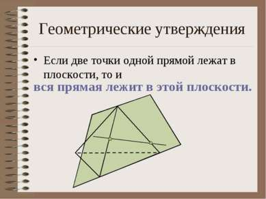 Геометрические утверждения Если две точки одной прямой лежат в плоскости, то ...