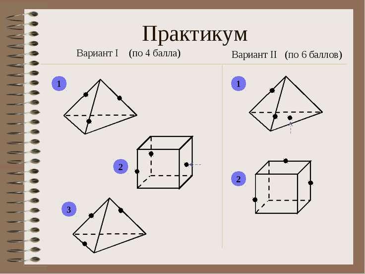 Практикум Вариант I (по 4 балла) Вариант II (по 6 баллов) 1 2 3 1 2