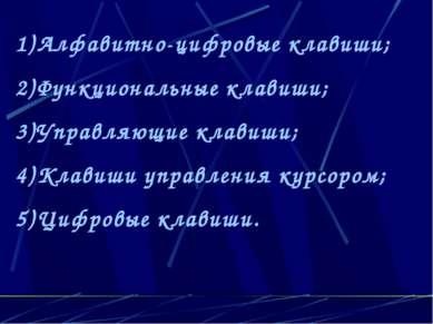 Алфавитно-цифровые клавиши; Функциональные клавиши; Управляющие клавиши; Клав...